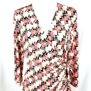 Evan Picone Dresses - Evan Picone Black Label Mock Wrap Dress Size 14